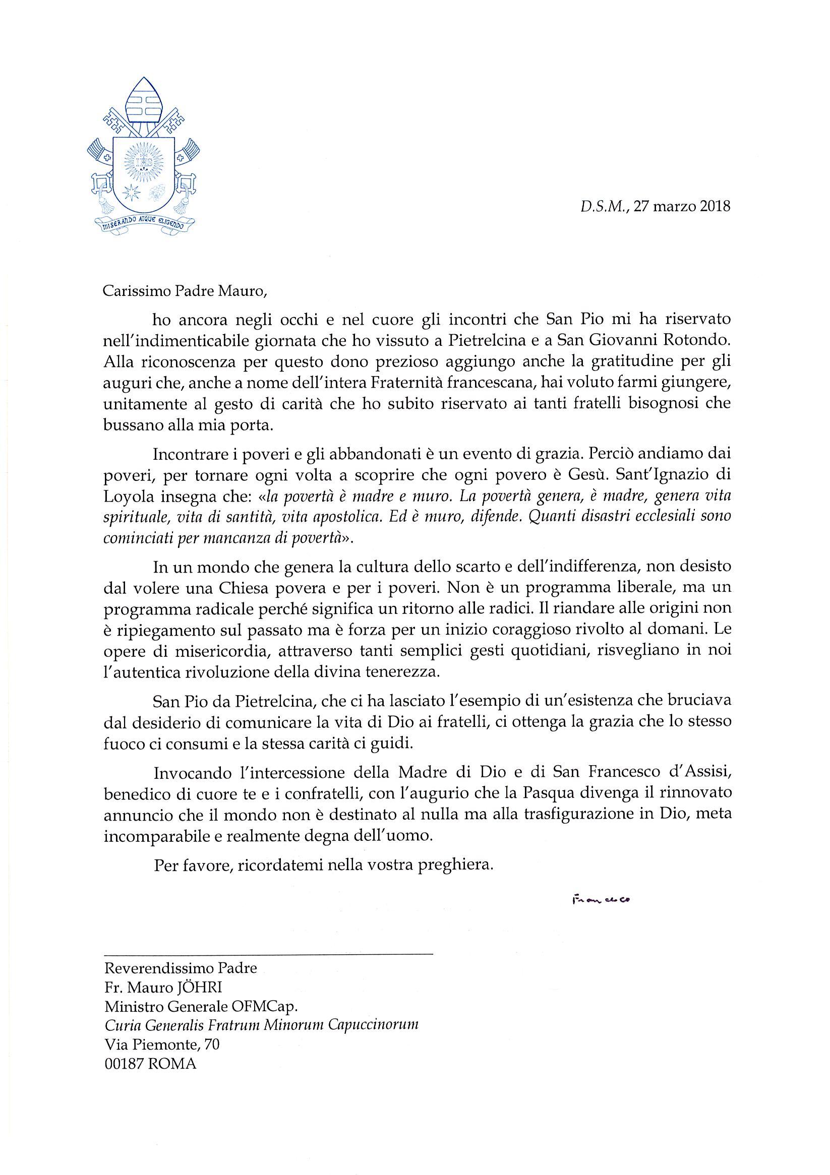Dankesbrief von Papst Franziskus an den Generalminister
