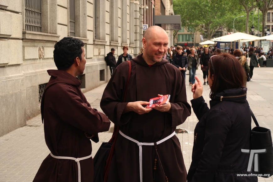 Capuchins in the streets of Barcelona